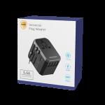 MXUA01 Faster Universal Travel Adapter 4 Ports & Type C – Black